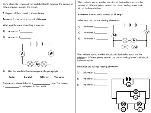 Marvelous Current Voltage In Circuits Questions Worksheet By Renstra Mohammedshrine Wiring Digital Resources Renstramohammedshrineorg